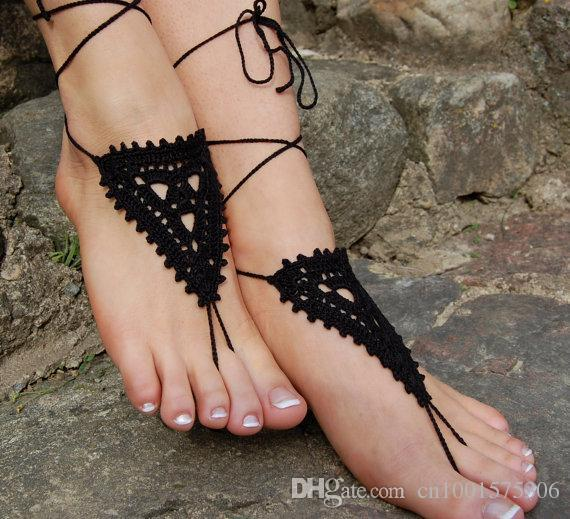 Crochet Beach Shoes Barefoot Sandals,Wedding Accessories, Nude Shoes, Yoga socks Black Anklet, jewelry for the foot..