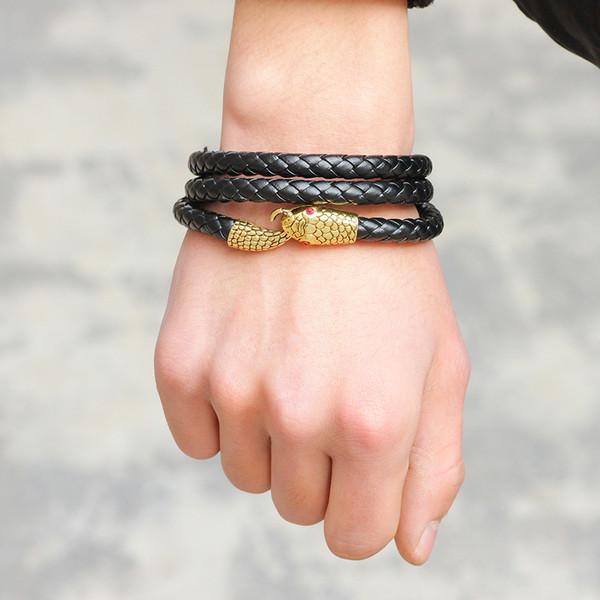 Serpent Marque gainé de cuir véritable Bracelets Hommes Femmes Mode Bijoux Punk à longue chaîne Lien Charm Bracelets viintage
