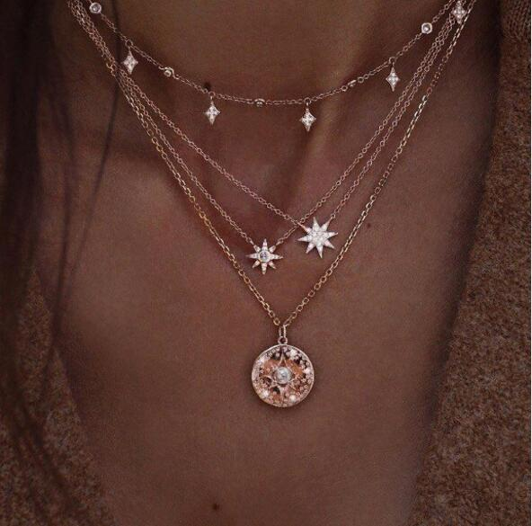 Four-layer two stars sparkling disc pearl pendant necklace chokers rhinestone collarbone chain necklace fashion jewelry chokers