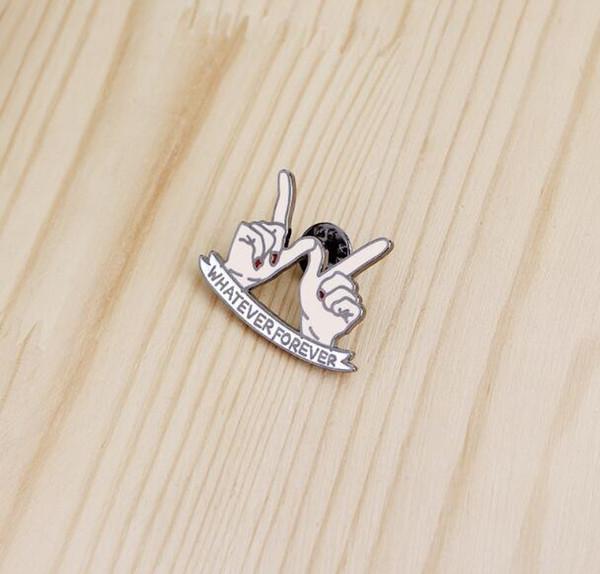 2018 venta caliente lo que sea para siempre corazón en mano broche mejores amigos esmalte pernos hebilla chaqueta de mezclilla escudo collar pin insignia joyería de moda