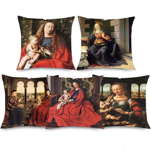 Cuscino della pittura della pittura a olio di Europa 9 stili uomo ritratto arte famosa lavoro decorativa domestica lino federa arredamento camera da letto