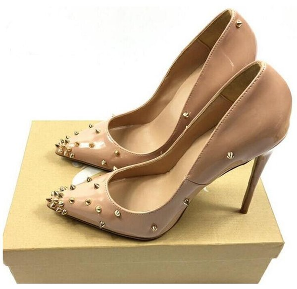 Wholesale Multi colored heels Shoes Pointed Toe Women Pumps Rivet Studded For Wedding Party Dress Stiletto Woman Size 35-44.