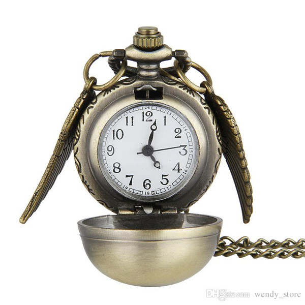 Cindiry retro alten flügel schwarz gold golden snitch ball quarz taschenuhr fob frauen halskette nummer arabisch stunde dame frau