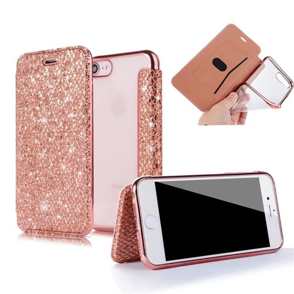 Luxury Glitter PU Leather Wallet Case For iPhone 7 Plus 8 Plus X 6 6S 5 5S Clear Cover Stand Phone Case For iPhone 5S 6 S EEMIA
