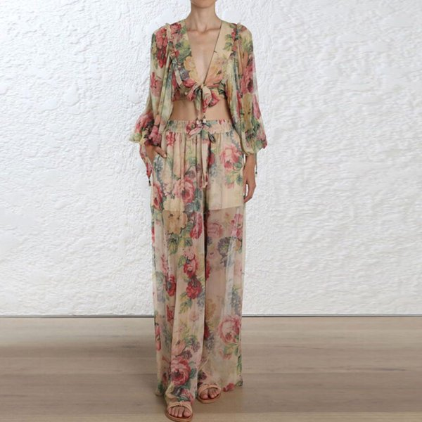 High Quality 2018 New Fashion Floral Print 2 Pieces Sets V-neck Long Sleeve Top and Long Pants Elegant Woman Jumpsuits Rompers