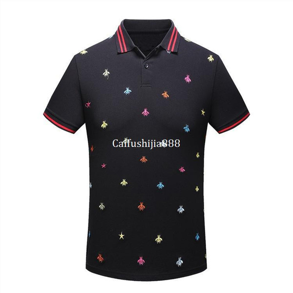 2019 High New Men High Embroidered Color Bees Striped Collar Polo Shirts Shirt Hip Hop Skateboard Cotton Polos Top M-3XL