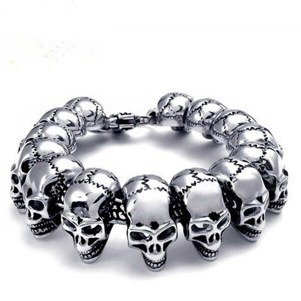 Fashion Skeleton Skull Bracelet for Men 316L Stainless Steel Bracelet & Bangle Titanium Steel Jewelry Men Bracelets Pulseiras