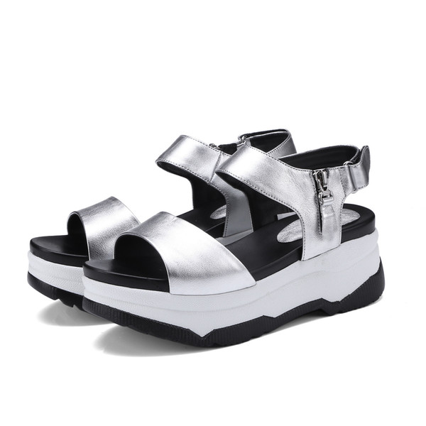 New Summer Thick Bottom Women Genuine Leather Sandals Casual Shoes High Heel Wedges Open Toe Platform Gladiator Sandals Silver
