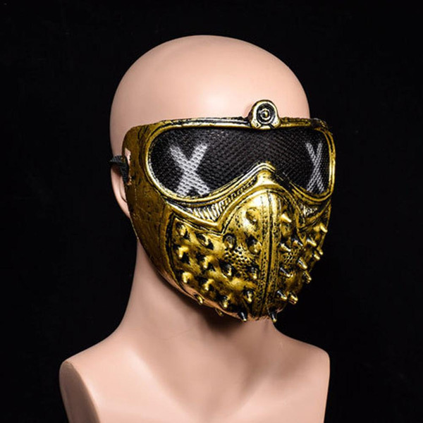 2pcHalloween Punk Devil COS Anime Stage Mask Ghost Steps Street Rivet Death Masks Watch Dog2018 s Cosplay Stage Party Face Masks