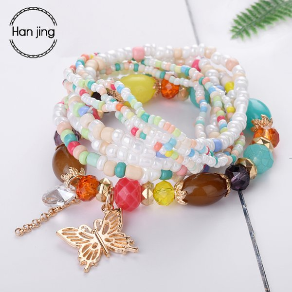 Luxury Jewelry Rose Glod Butterfly Charm Bracelets & Bangles For Women Boho Multilayer Beads Wrap Christmas Bracelet Femme Gifts
