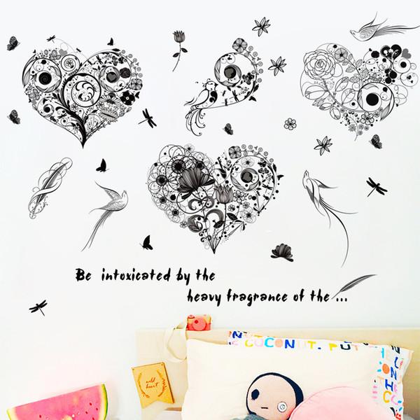 Autoadesivi moderni della parete di arte della linea nera uccelli creativi della farfalla del fiore della camera da letto del salone che decora le decalcomanie autoadesive della sala da pranzo