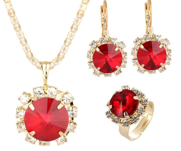 European and American Fashion Jewellery Set Crystal Gems Cone Inlay Pendant Necklace Earrings Ring Set Female Accessories