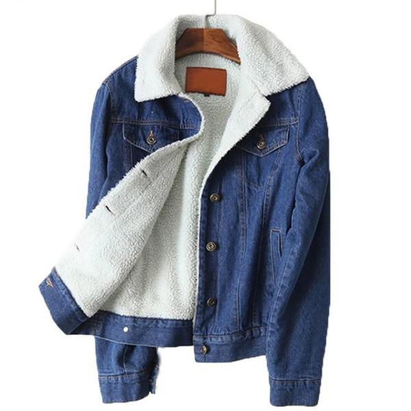 Giacca di jeans in pelliccia calda invernale Donna Bomber Blu Giacca di jeans slim a vita larga Cappotto capispalla con tasche piatte a bottone pieno caldo