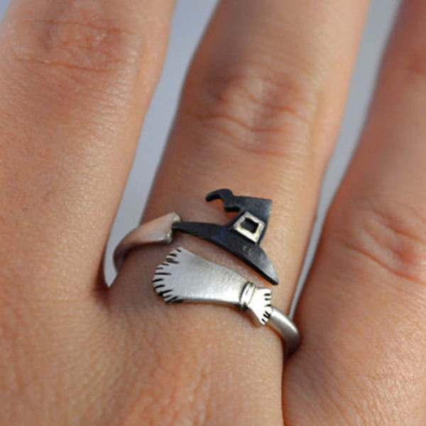 Cute Halloween Decoracion Jewelry Women Rings Witch Hats Broom Mop Pumpkin Lamp Alloy Finger Rings Hollow Out Men's Ring #288604
