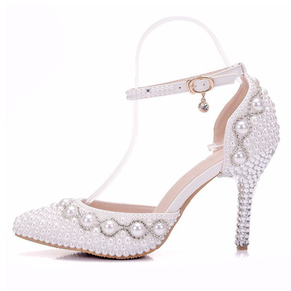 New Fashionl sexy pointed toe shoes for women White pearls high heel wedding shoes thick heels Beautiful Crystal chain Plus Size Shoes