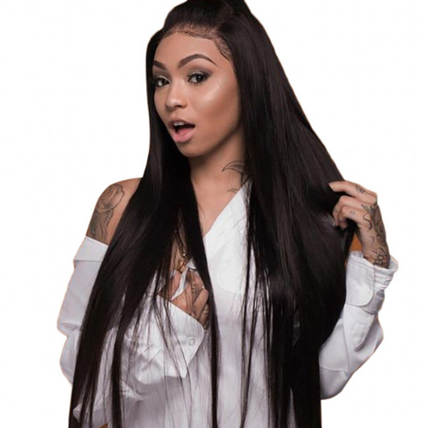 Virgin Malaysian Human Hair Straight Lace Front Wigs Full Lace Wigs Pre Plucked with Bleached Knots Ping