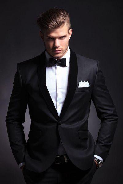 Custom Made Black Groom Tuxedos Beautiful Men Formal Suits Business Men Wear Wedding Prom Dinner Suits (Jacket+Pants+Tie+Girdle) NO;664