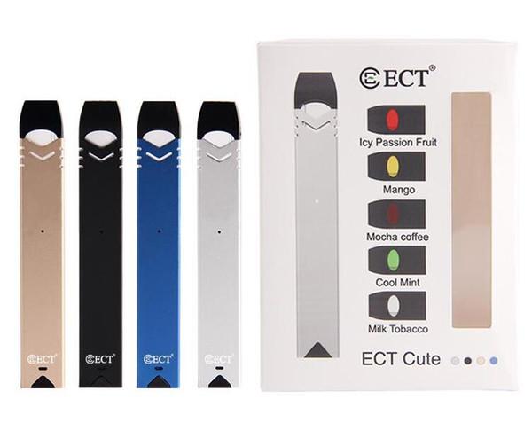 ECT Cute e cigarette Starter Kit Vaporizer For 5 Pods 0.8ml Cartridges Portable smoking Vape Pen for Electronic Cigarette DHL Free