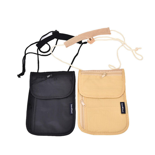 Laamei Shoulder Bag Security Passport Neck Pouch Money Cord Clothes Travel Wallet Organizer Holder Bag Blocking Hidden Money