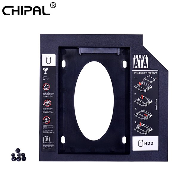 CHIPAL 50pcs Universal Second 2nd HDD Caddy 9.5mm SATA 3.0 2.5'' SSD Hard Disk Drive Case Enclosure For Laptop ODD DVD-ROM