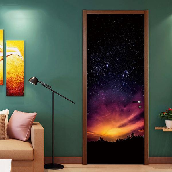 DIY 3D Starry Sky Door Decal Art Renovation Murals Wallpaper Paint Corridor Door Decorative PVC Wall Stickers Bedroom Living Room Home Decor