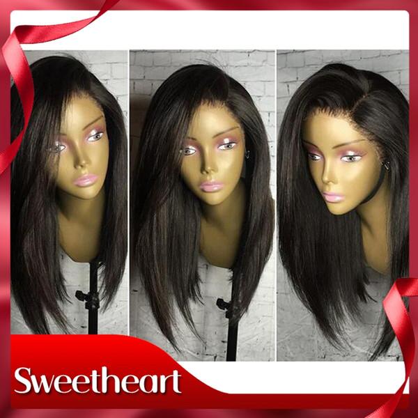 Linha fina natural preto / marrom / loira perucas em linha reta com bebê cabelo resistente ao calor Barato peruca dianteira do laço sintético para preto mulheres que se despede grátis