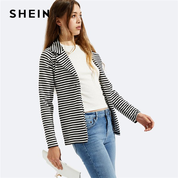 96069ce552 SHEIN Black and White Notch Collar Striped Blazer Office Ladies Single  Button Workwear Women Autumn Long