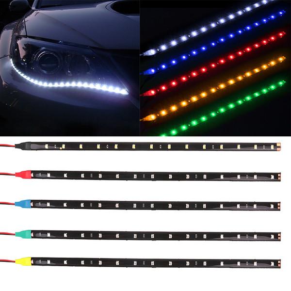 Waterproof Car Auto Decorative Flexible LED Strip HighPower 12V 30cm 15SMD Car LED Daytime Running Light Strip Light DRL