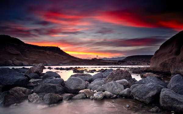 Sunning Red Sky over a Rocky River Bed Home Decor Art Silk Poster 24x36inch 24x43inch