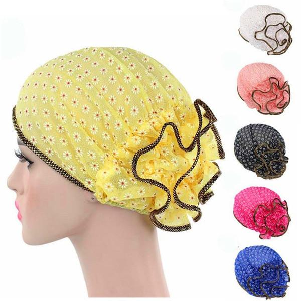 Nouvelle Arrivée Mode Femmes dentelle Beanie Chapeau fleur Bonnet Chemo Cap Écharpe Hijab Islamique Turban Tête Wrap Cap Bonnet Chemo