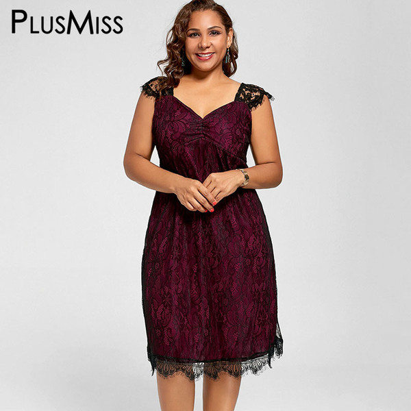 PlusMiss Plus Size 5XL XXXXL XXXL Lace Elegant Party Dresses Women Clothes Sleeveless Vintage Red Tank Midi Dress Big Size Robe