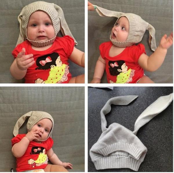 INS VENDITA CALDA! Inverno Baby Rabbit Ears Cappello lavorato a maglia infantile Cappellini per bambini 0-2T Ragazze Ragazzi cappelli Photography Puntelli 6 colori