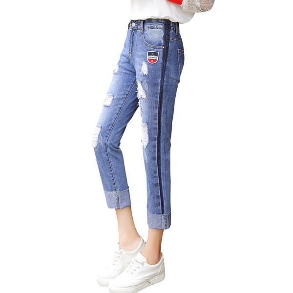 Blau Zerrissene Mittlere Taille Gerade Denim Manschetten Knöchellangen Jeans Frauen Sommer Hosen Freizeithose für Damen