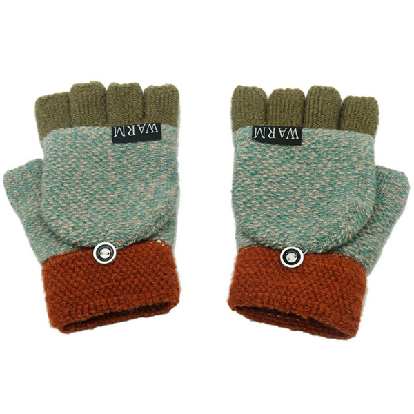 1 Pair New Half Finger Gloves For Women Wool Knit Wrist Glove With Flip Cover Autumn Winter Warm Workout For Women Men