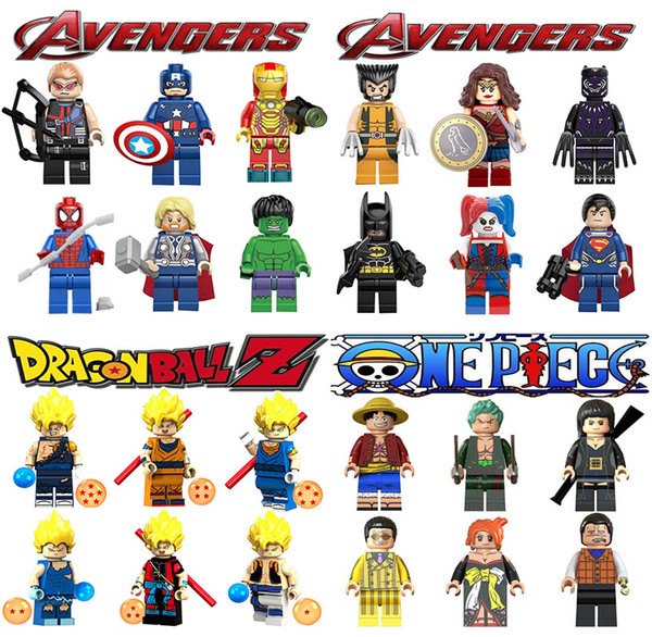 best selling Mini Figures Avengers super hero Wonder woman Dragon Ball Goku ONE PIECE Luffy Nami building blocks kids gifts