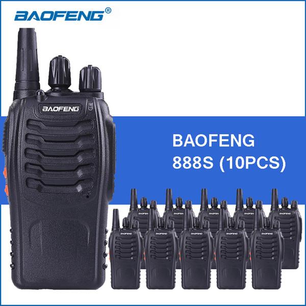 10 unids / lote Baofeng 888S portátil Walkie Talkie UHF 5W 1800mAh BF-888S Radio de dos vías Comunitor Radio de mano Radio-transmisor-receptor