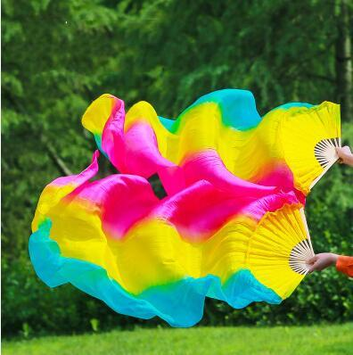 100% Real Silk Chinese Belly Dance Fan Veil Hand Made Vertical Fans 3 Sizes