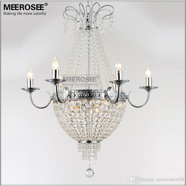 French Empire Crystal Chandelier Light Fixture Vintage Crystal Lighting Hierro forjado Blanco Cromo Color negro