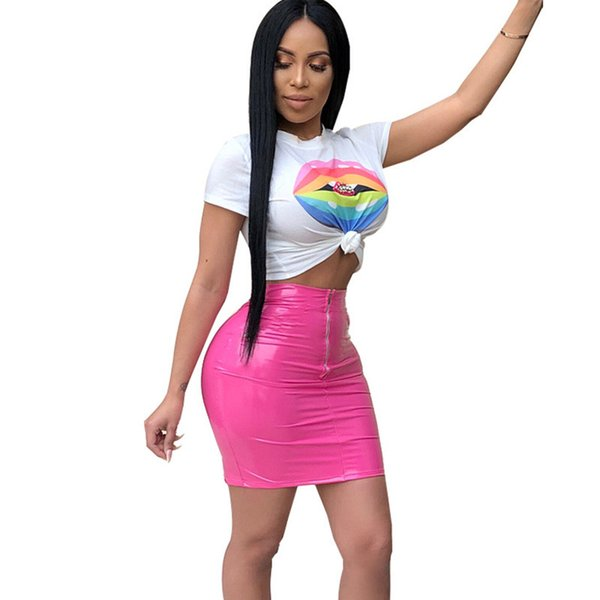Women Two Piece Skirt Set 2018 Casual Short Sleeve T-shirt Top and PU Mini Skirt Suits Fashion Lip Print Two Piece Dress Outfits