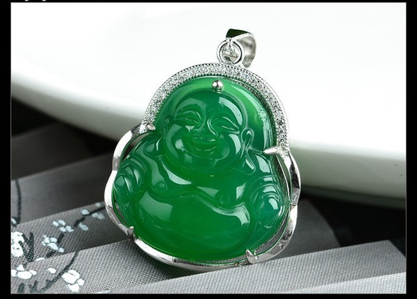 925 high-grade silver inlaid natural green chalcedony laughing Buddha pendant fashion female jewelry necklace jade pendant
