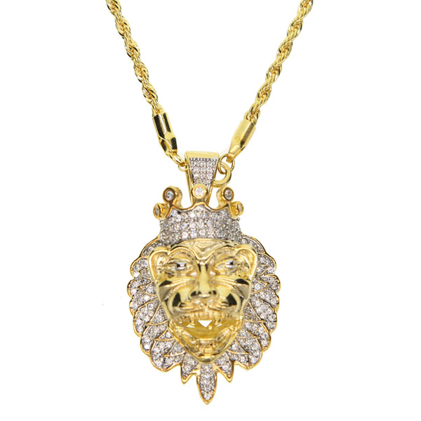 Hip Hop Gold rope Chain lion head Necklace Chain for Mens Punk Iced Out cz chain Necklace