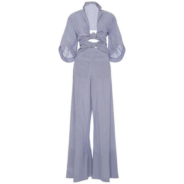 Bohoartist Women Rompers Jumpsuit Long Pants Elegant 2017 Autumn Blue Striped Shirts Playsuits Ladies Hollow Out Sexy Jumpsuit