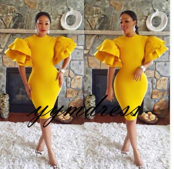 Africain Jaune Robe De Cocktail 2019 Fourreau Thé Longueur Des Robes De Soirée Formelles Robes De Bal Aso Ebi Sur Mesure