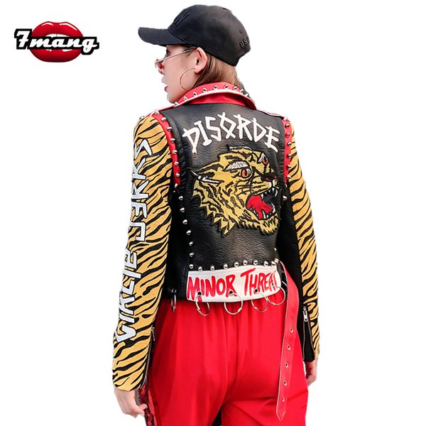 7mang 2018 autumn new women punk rivet street metal ring printing pu leather jacket slim party cool motorcycle tiger jacket