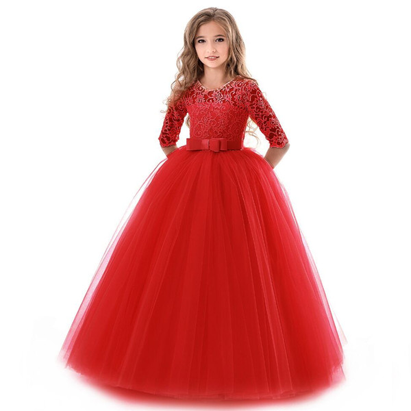 2018 New Teenage Girl Princess Lace Solid Dress Kids Flower Embroidery Dresses For Girls Children Prom Party Wear Red Ball Gown