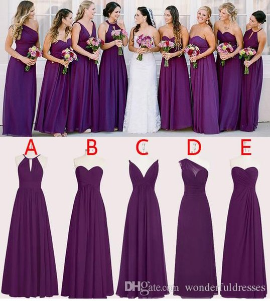 Perfect Chiffon Purple Bridesmaid Dresses Floor Length A Line Long Wedding Bridesmaid Dresses Custom Made Sleeveless WB011