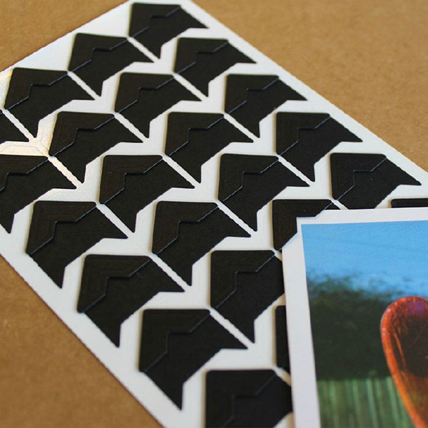 ORAF 24pcs Retro Photo Corners Sticker Paper Tape For DIY Album Scrapbook Decor Black
