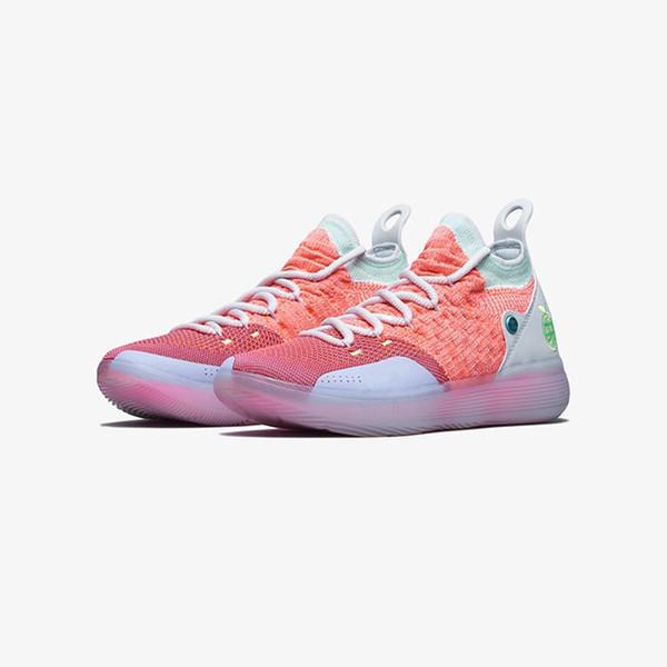 Дешевые новые мужские баскетбольные кеды KD 11 EYBL Персиковый джем Розовый Ice Blue Blue Oreo KD11 Кевин Дюран кроссовки XI с оригинальной коробке