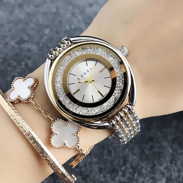 Moda stile del cigno delle donne di marca ragazze quadrante in vetro della fascia d'acciaio di metallo orologio al quarzo SW04