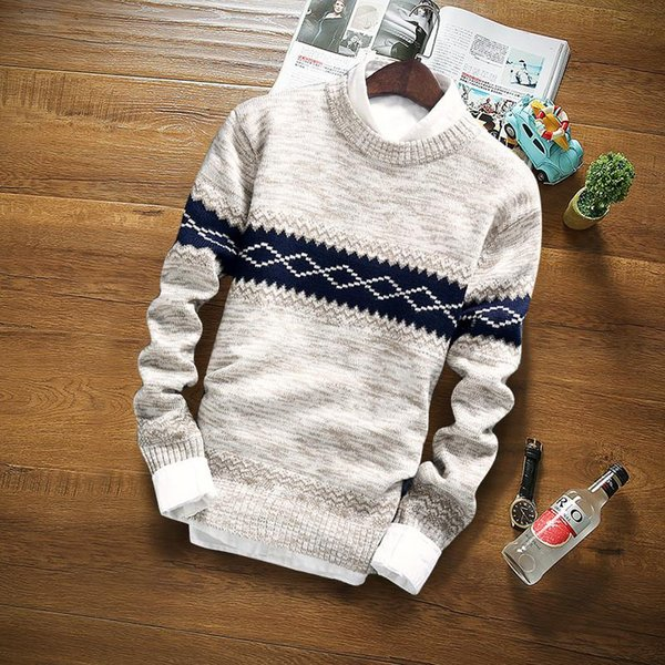 Wholesale- 2017 winter pullover sweater brand knitting long sleeve O-neck Slim Korean fashion clothes men sweater